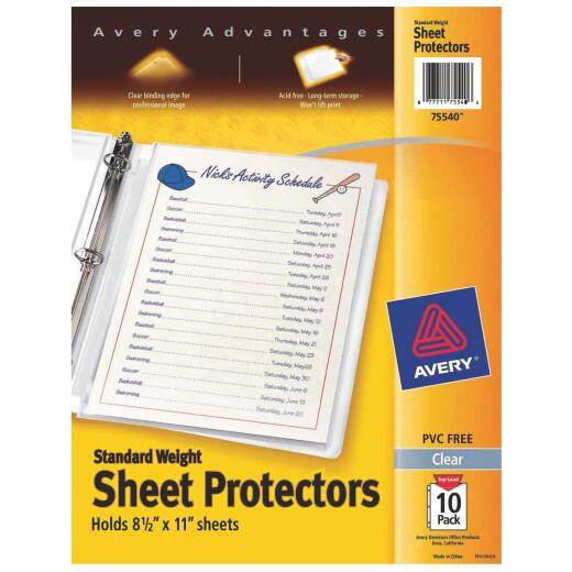 Avery Products 8-1/2 In. x 11 In. Top Loadin Clear Standard Weight Sheet Protector (10-Pack)